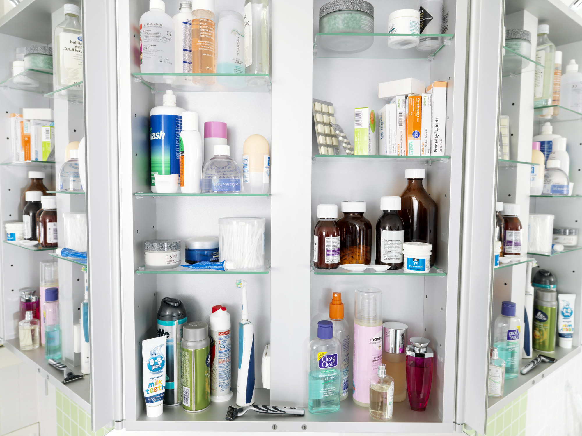 A packed medicine cabinet