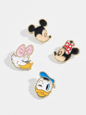stud earrings of mickey, minnie, donald, and daisy