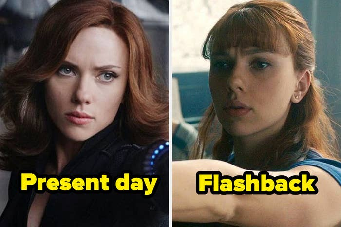 Present-day Black Widow with swoopy hair and middle part next to flashback Black Widow with floppy bangs.