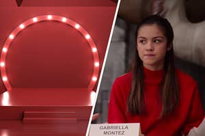 """An circular shape lit with small light bulbs hangs over a small stair case and  Olivia Rodrigo as Nini Salazar-Roberts in the show """"High School Musical: The Musical: The Series."""""""