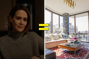 Sarah Paulson is on the left leaning on a table with an equal sign in the center and a living room on the right