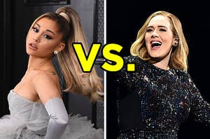 """On the left, Ariana Grande, and on the right, Adele with """"vs."""" typed in the middle"""