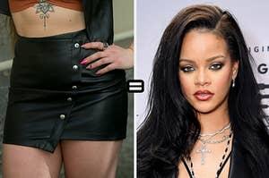 Leather skirt equals Rihanna