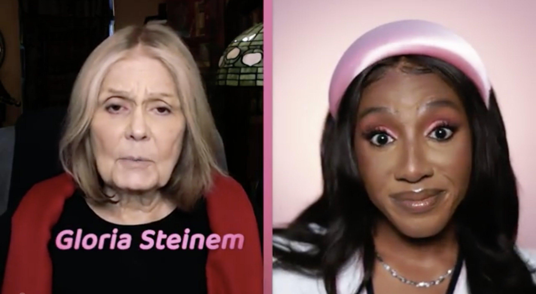 Host Ziwe interviewing feminist activist Gloria Steinem