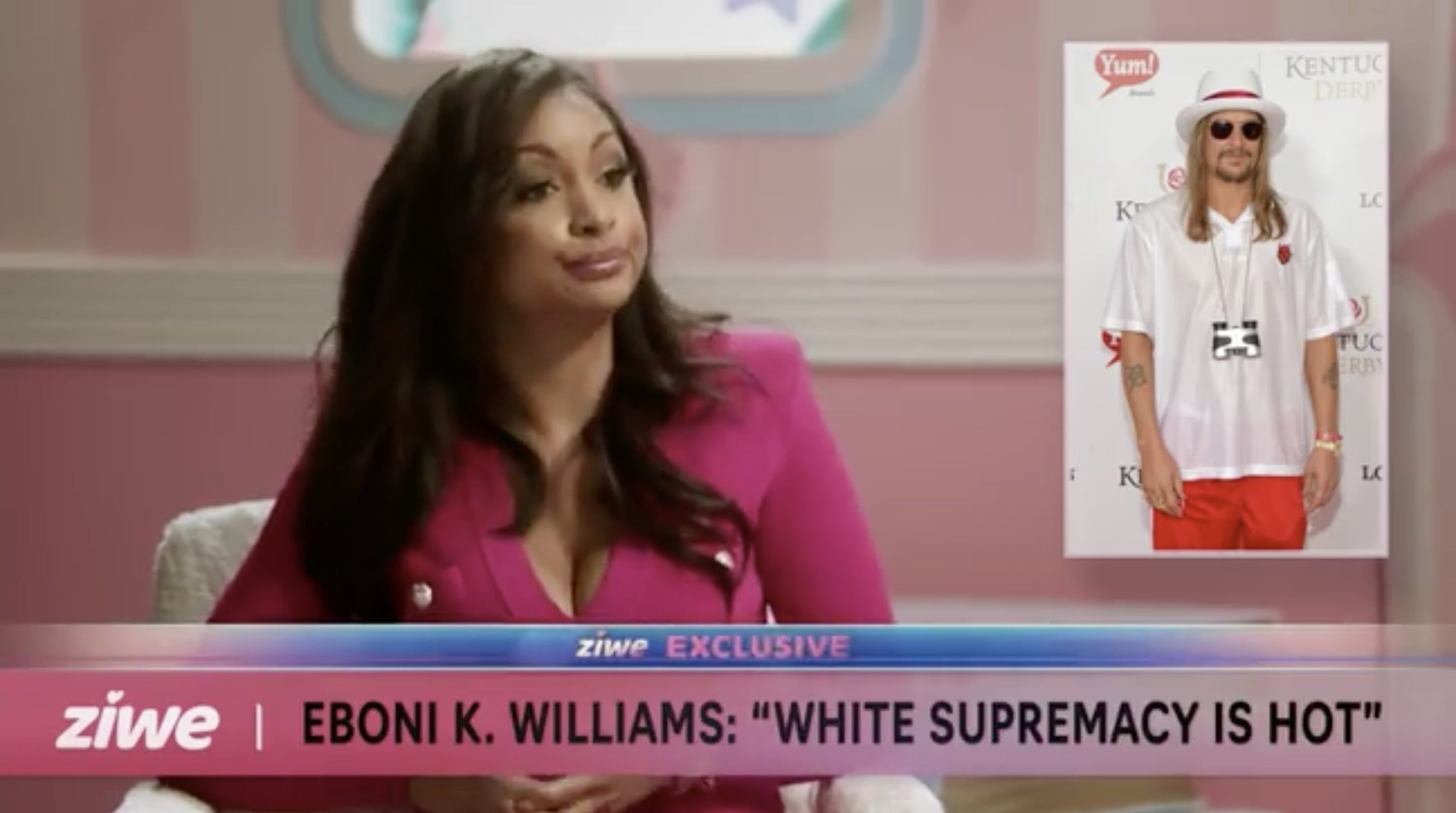 """Eboni K. Williams being interviewed by Ziwe, the subtitle card reads, """"Eboni K. Williams: White Supremacy is Hot"""""""