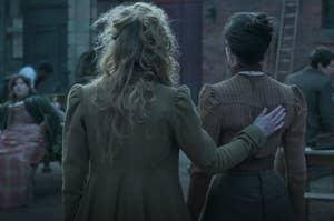 Back of Penance and Amalia, Penance with hand on Amalia's back