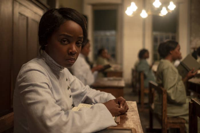 a still from the series the underground railroad of the story's main character Cora played by newcomer Thuso Mbedu