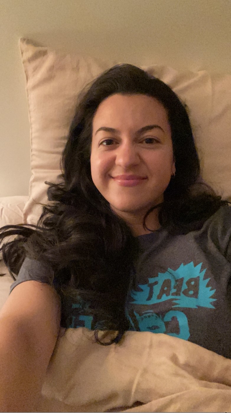 The author smiling before bed