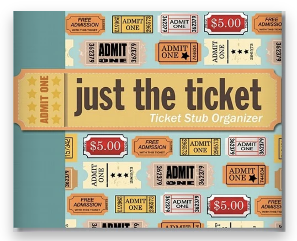 A ticket stub organizer notebook with images of tickets illustrated on the front