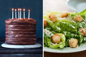 a chocolate layer cake on the left and a caesar salad on the right