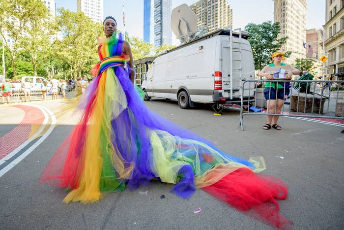Billy wearing a Pride inspired tulle dress