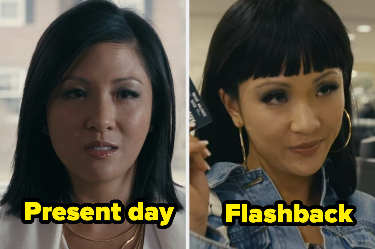 Present-day Destiny with a sleek side part and flashback Destiny with straight, blunt, horrible bangs.