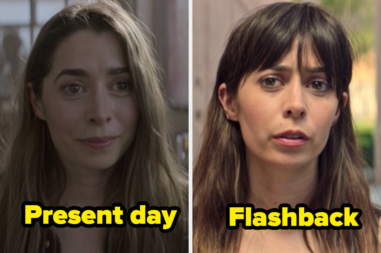 Present-day Hazel with straight hair and a side part next to flashback Hazel with straight hair and poufy bangs.