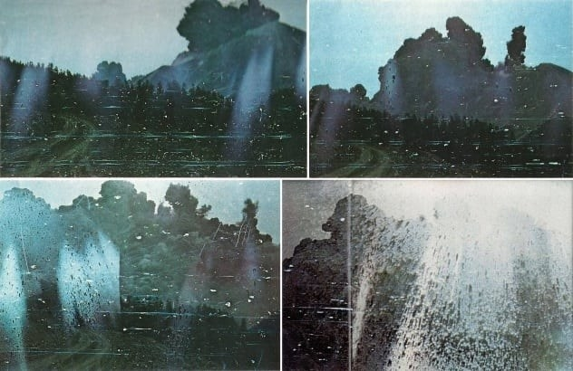 A collage of the four photos Landsburg took, which depicts a wall of ash rapidly approaching