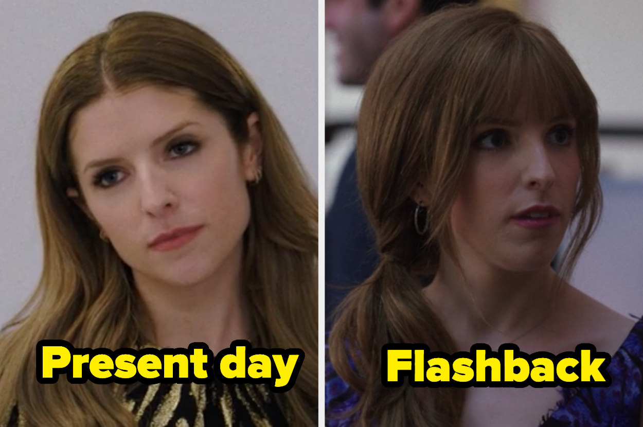 Present-day Darby with a wavy hair and middle part and flashback Darby with a side ponytail with bangs and layers.