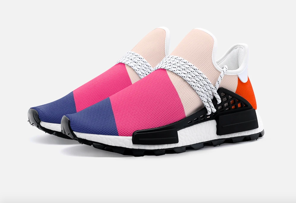 the sneakers with purple, hot pink, light pink, and orange stripes; the loops for the laces narrow black grids on either side of the shoe, much lower down than typical sneakers