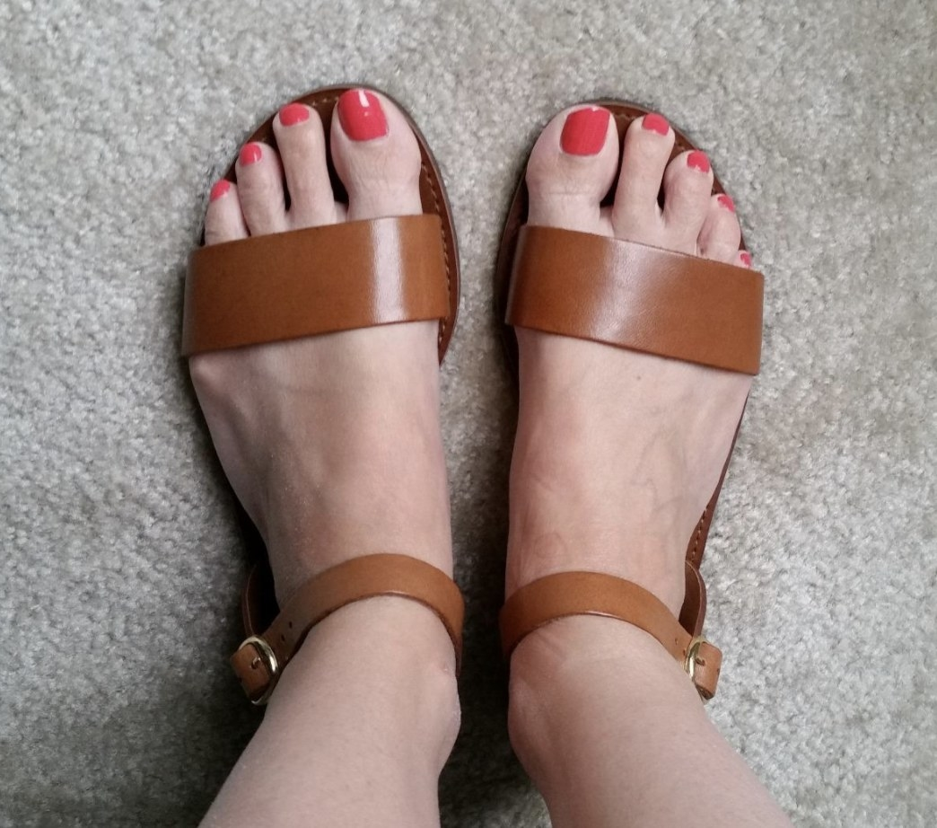 Tan thick strap sandals