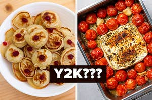 pancake cereal on the left and baked feta pasta on the right