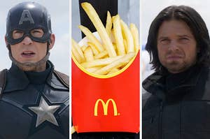"""Chris Evans as Steve Rogers, a medium sized french fry from McDonald's, and Sebastian Stan as Bucky Barnes in the movie """"Captain America: Civil War."""""""