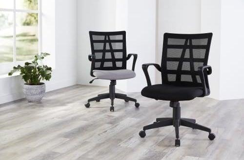 black mesh-back task chair