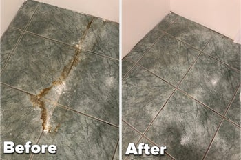 to the left: a tile floor with a stain on it, to the right: the same floor cleaned