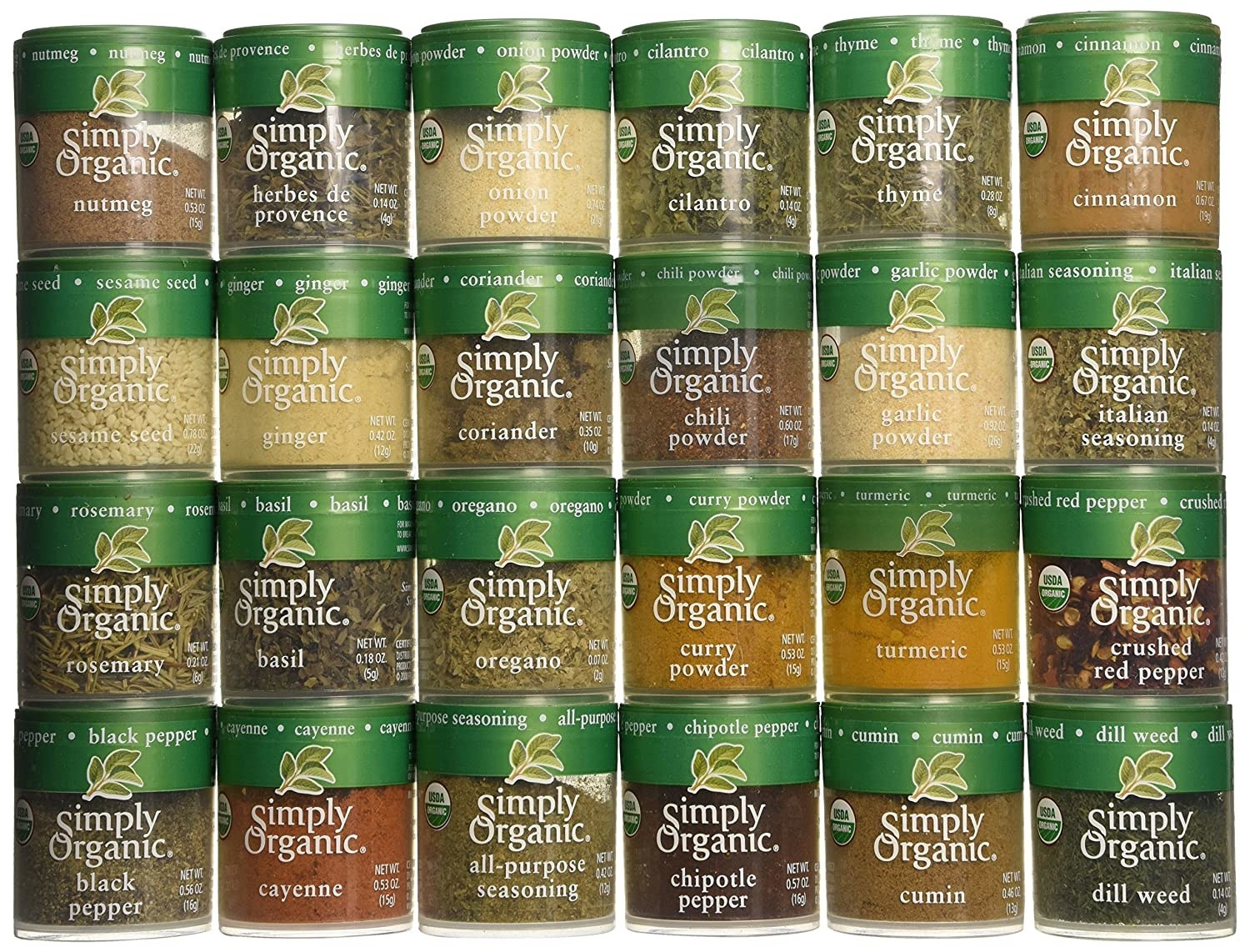 24 small containers of spices