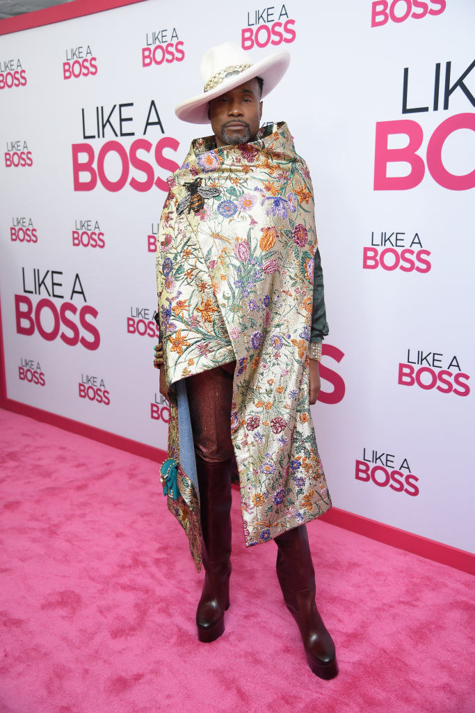 Billy Porter wrapped in a floral shawl