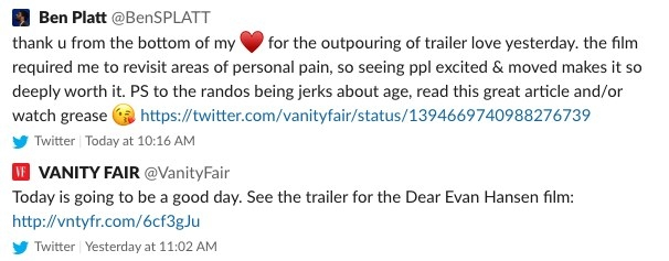 A screenshot of Ben's tweet
