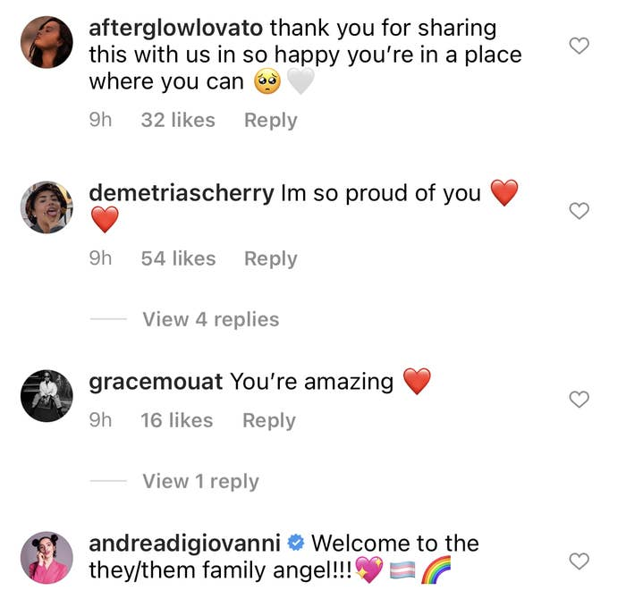 People have commented that they're proud of Demi and welcomed them to the they/them family