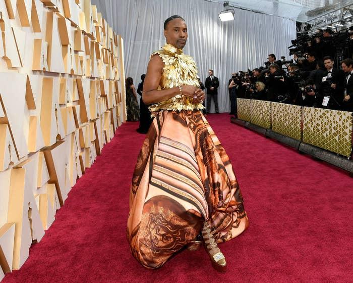 Bill Porter in a golden, artistic dress