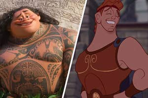 Maui is on the left smiling with Hercules on the right smiling with her hand on her hip