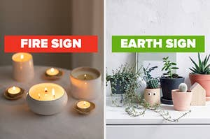 """On the left, some lit ceramic candles of various sizes on a table labeled """"fire sign,"""" and on the right, various succulents on a dresser labeled """"earth sign"""""""