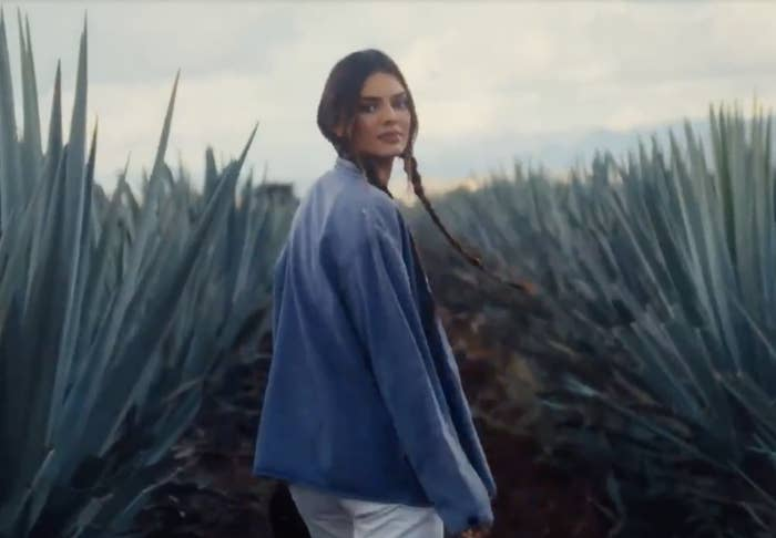Kendall looks back at the camera while walking through the field