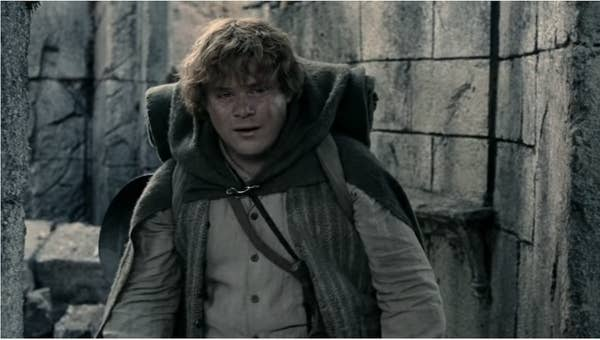 Sam carrying his pack