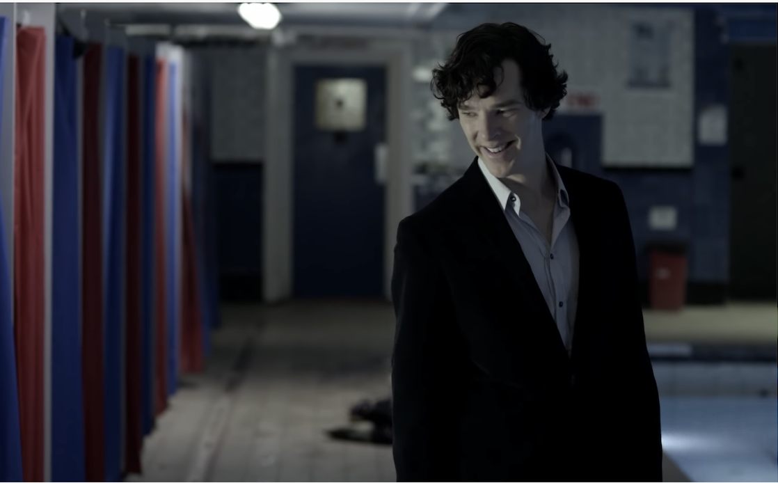 Sherlock in one of his tight suits