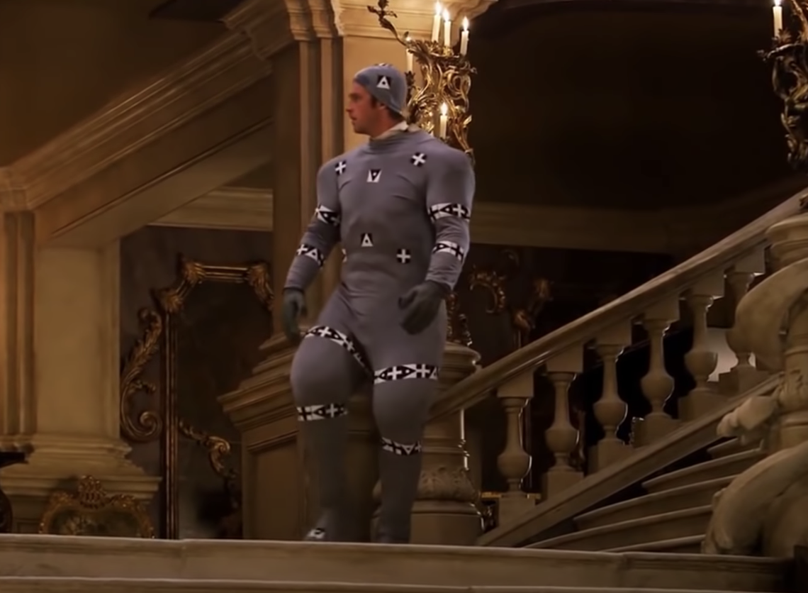 Dan Stevens in the motion capture suit for Beauty and the Beast