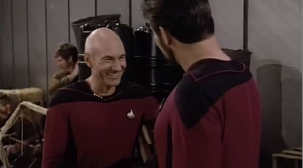 Stewart as Picard laughs in his too-tight costume