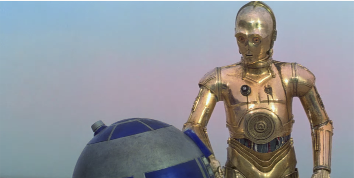 C-3PO talks to R2D2 in the first star wars movie