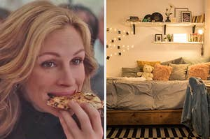 """On the left, Julia Roberts eating a slice of pizza in """"Eat Pray Love,"""" and on the right, a bedroom with a bed pressed against the wall with tons of throw pillows and a teddy bear on top and shelves and fairy lights on the wall"""