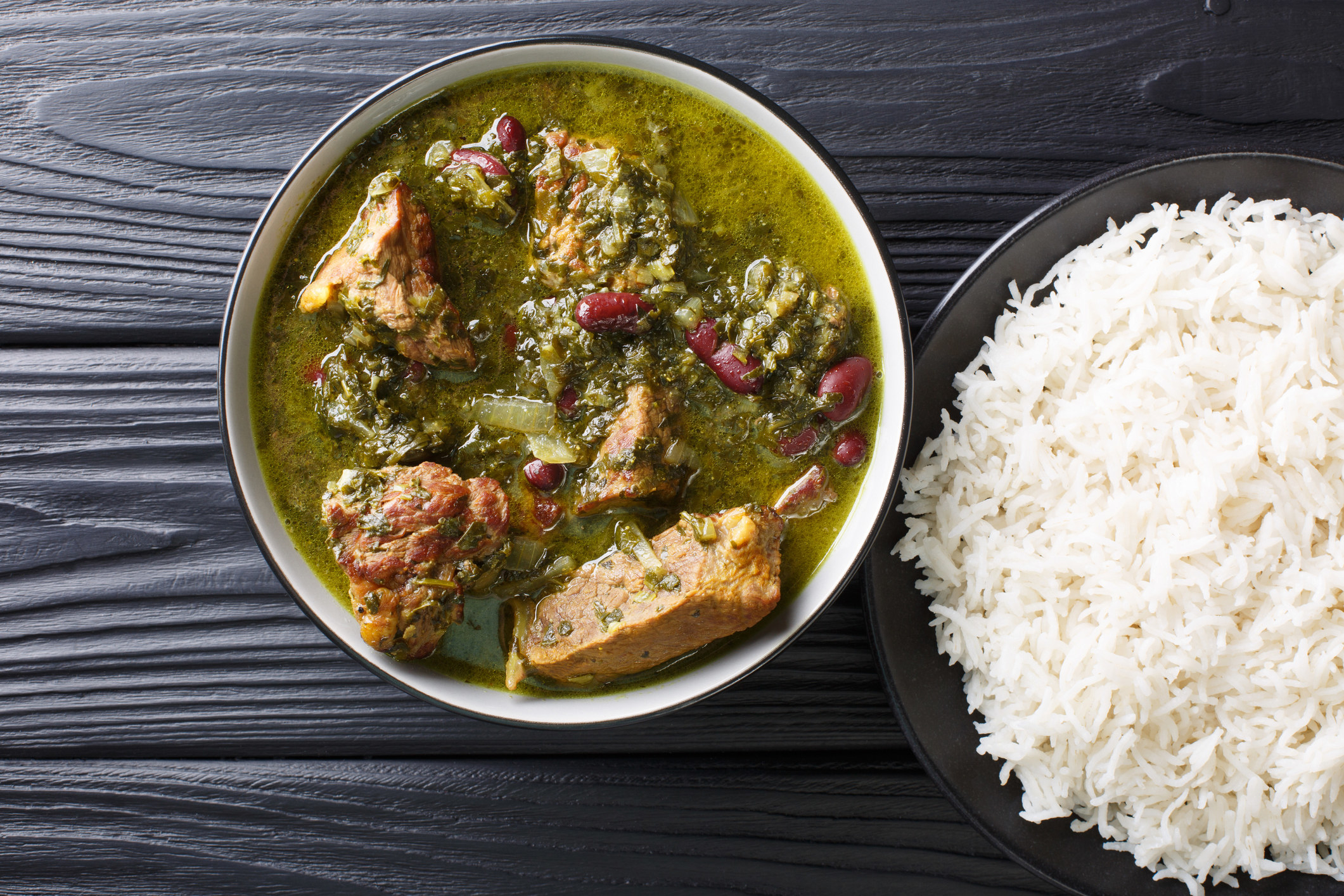 Iranian meat and bean stew with rice on the side.