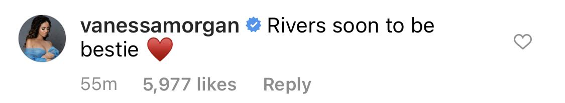 "Vanessa wrote ""Rivers soon to be bestie [heart emoji]"