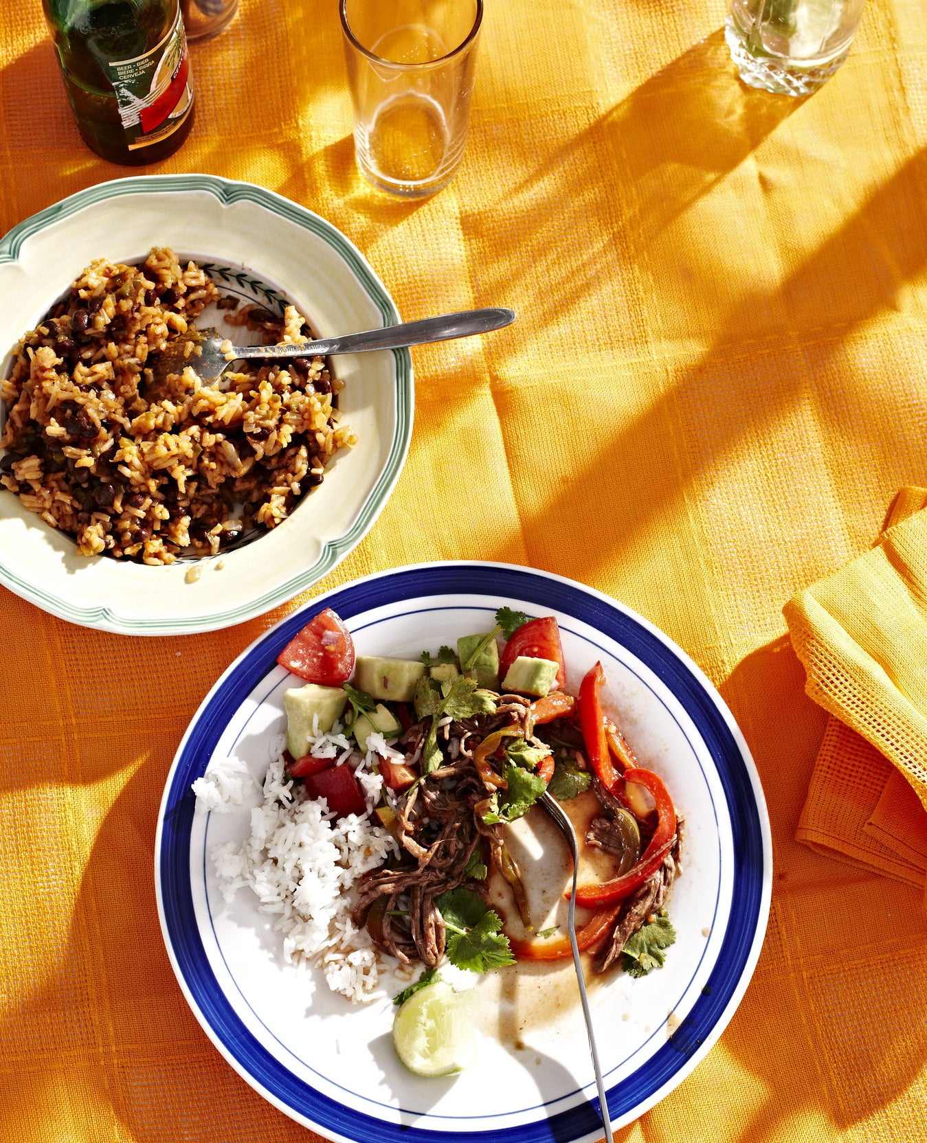 Cuban ropa vieja over white rice.