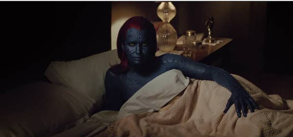 J. Law as Mystique in the first movie