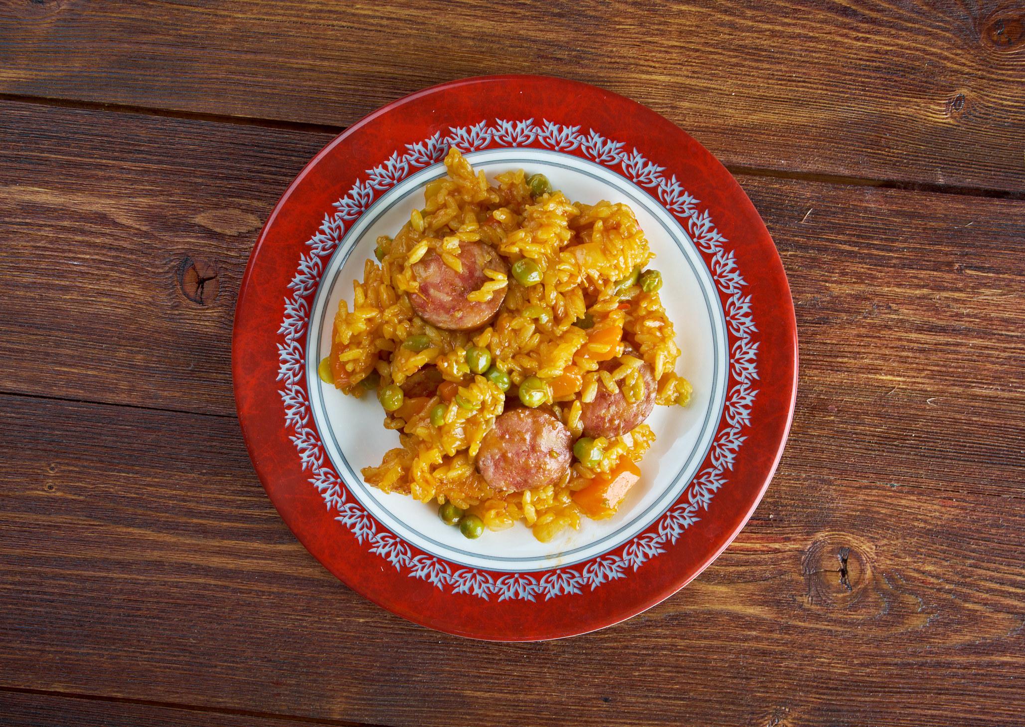 Puerto rican arroz con chorizo and peas.