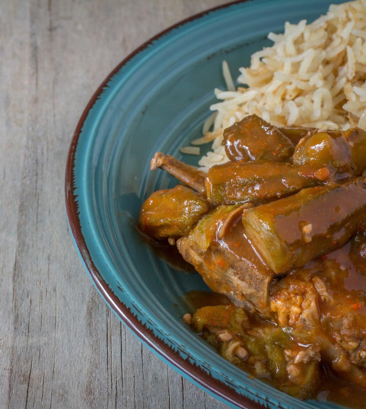 Sryan okra stew over rice.