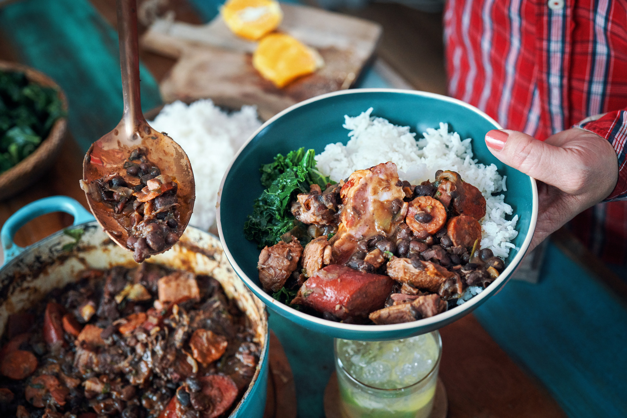 Brazilian black bean stew with sausage over rice.