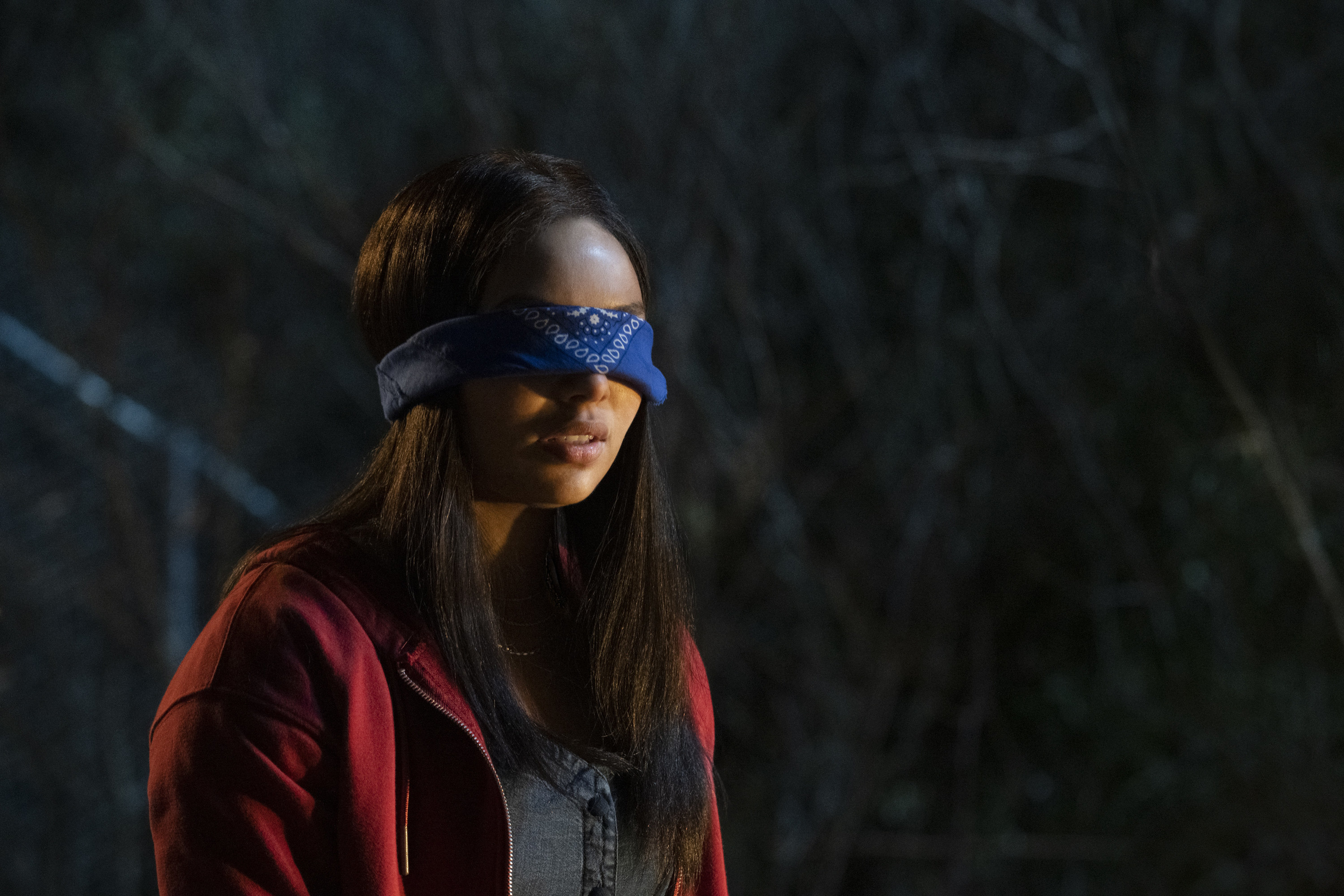 image of actor Jessica Sula who plays Natalie Williams blindfolded in a scene from the series panic