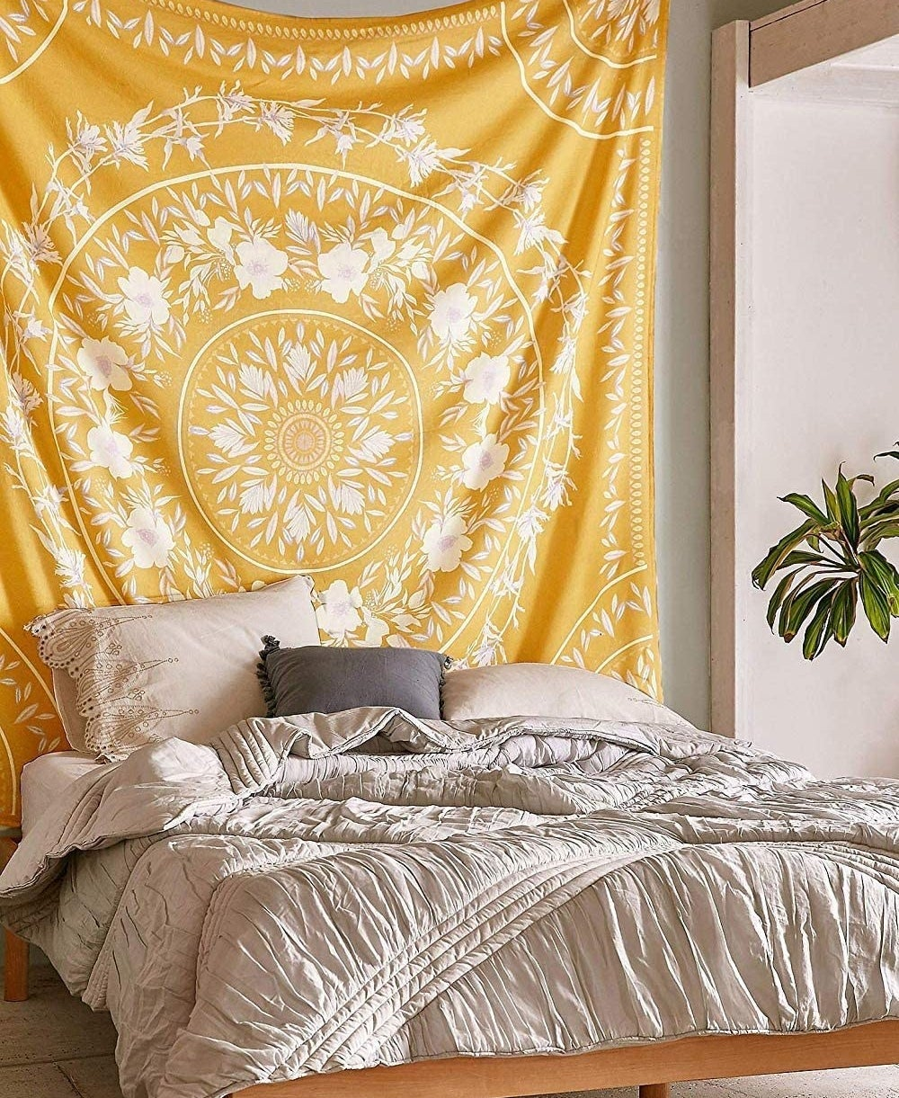 The tapestry behind a bed