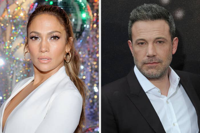 Jennifer Lopez and Ben Affleck in separate photos