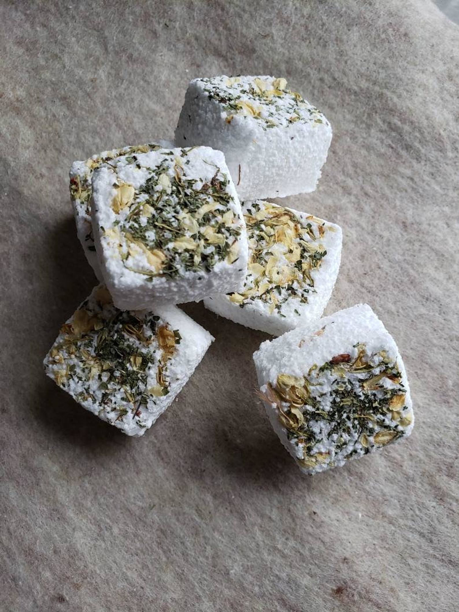 Cube fizzies with herbs in them